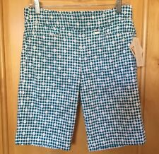New w/ Tags women's EP PRO GOLF SHORTS  in Teal & White Size 10 STRETCH MSRP $85