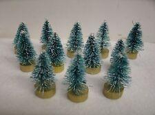 "12 Sisal / Bottle brush GREEN frost Trees Asst. 1"" -1.25""  Holiday Miniatures"