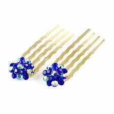 Mini Hair Comb Clip use Swarovski Crystal Hairpin Elegant Bridal Gold Blue C37