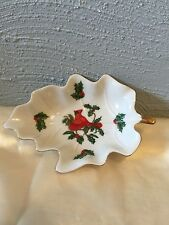 Lefton Cardinal Holly Berries Leaf Shape Christmas Trinket Dish Candy Bowl