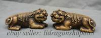 """5 """"Vieux Chine Cuivre Feng Shui Pixiu Bête Licorne Statue Sculpture Paire"""