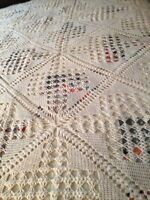 SALE Vintage Cream Hand Crocheted Cotton Bed Coverlet 80x100q