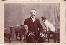 New ListingAntique Cabinet Photograph – Gentleman & Two Dogs – Reading