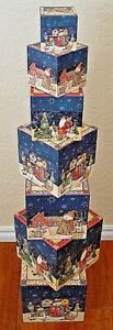 NEW Bob's Boxes (SNOW BUDDIES) 7 Piece Christmas Gift Nesting Boxes