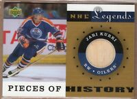 JARI KURRI 2001/02 UD Upper Deck Legends PIECE of HISTORY Game Used STICK OILERS