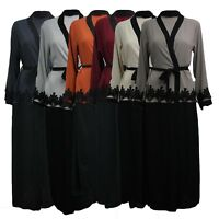 Long Open Thread Belted Abaya Womens Ladies Gown Dress Overcoat Full Gown 8-14