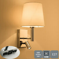 LED USB Wall Light Indoor Bedroom Bedside Reading Lamp with On/Off Switches