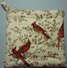 Deluxe Hot Pad / Pot Holder : CARDINALS AND BERRIES/ Red on Cream :  Quilted