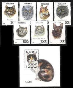 TANZANIA 1992 MNH SS + 7v, European, Maine's, Blue, Havana Cats