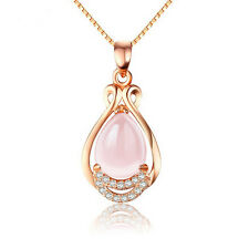 Fashion Rose Gold Plated Rhinestone Pendant Pink Opal Chain Necklace Good Gift