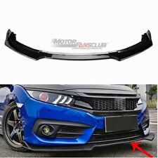 Carbon Fiber Front Bumper Lip Spoiler Cover Body Trim For Honda Civic 2016-2018