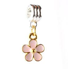 flower 925 silver charm beads pendant fit European bracelet necklace chain #B125