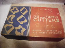 VINTAGE ALL METAL CAKE and SANDWICH CUTTERS W/ ORIGINAL BOX SET OF 6
