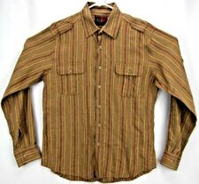 EQ Equilibrio Rooster Men's Shirt Large L/S Button Up Gold/Green/Red Striped