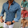 Luxury Mens Striped Slim Fit Shirt Long Sleeve Dress Shirts Casual Blouse Tops