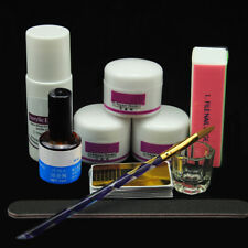 AU - Acrylic Powder Liquid Glass Cup Nail Art Tips UV Primer Brush Block Kit Set
