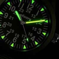 🎁INFANTRY Mens Quartz Wrist Watch Luminous Thin Sport Military Army Green Nylon