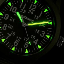 INFANTRY Mens Quartz Wrist Watch Luminous Thin Sport Military Army Green Nylon