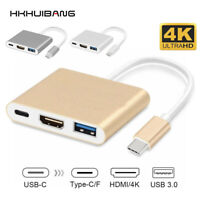 USB Type C 3.1 to USB-C 4K HDMI USB 3.0 Adapter Cable 3 in 1 Hub for Macbook Pro
