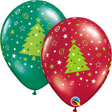 """CHRISTMAS PARTY SUPPLIES BALLOONS 10 x 11"""" CHRISTMAS TREES & SWIRLS BALLOONS"""