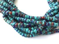 Fine Opaque Turquoise multi Bohemian glass Crow African trade beads