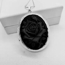 BLACK ROSE CAMEO LOCKET NECKLACE Silver Pltd  MOURNING GRIEVING MEMORY HALLOWEEN