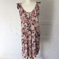 Mamas & Papas Maternity Dress Size 10 Pockets Knee Length Sleeveless Floral