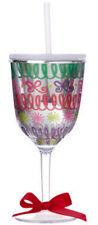 Slant SPARKLE RIBBON 13oz Double-Wall Wine Glass w/Straw  S119028