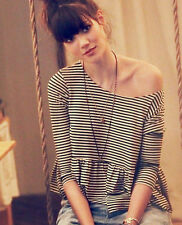 We the Free People Women Sz. XS Black Striped 3/4 Sleeve Peplum Crop Top Blouse