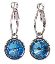 Swarovski Elements Crystal Blue Harley Pierced Earrings Rhodium Authentic 7283z
