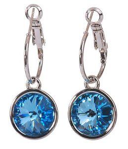 Crystals From Swarovski Aquamarine Harley Earrings Rhodium Authentic 7283z
