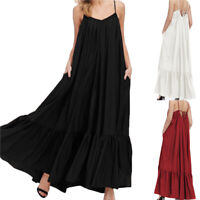 ZANZEA Womens Spaghetti Flare Swing Long Maxi Dress Kaftan Sleeveless Sundress
