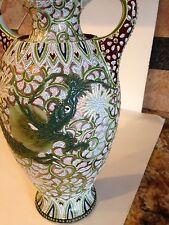 Antique Moriage Dragon Vase 1880s Japanese Signed Art Deco Vase Green Gold