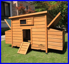 LARGE DELUXE CHICKEN COOP HEN POULTRY ARK HOUSE HUTCH NEST NEW RUN