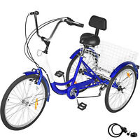 VEVOR Adult Tricycle 24 Inch 3-Wheel Bike 7 Speed Wheeled Cruiser with Basket