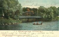 Oconomowoc Wisconsin~Boat Rows Under North Main Street Bridge~1907 Postcard