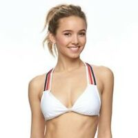 ENDLESS SUN Size XS S M XL White Red Blue Strappy RacerBack Bikini Swim Top NEW