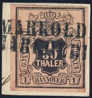 HANNOVER, MiNr. 3 a, Einzeiler MARKOLDENDORF, gepr. Jäschke-L., Mi. ca. 200,-