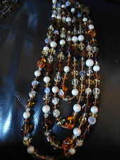 AB11 50'S / 60'S SIGNED CORO 4 STRAND GLASS NECKLACE, AMBER, PEARL, OPALESCENT