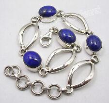 """925 Sterling Silver High End LAPIS LAZULI Gemstones BESTSELLER Bracelet 7.7"""""""