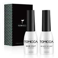 TOMICCA Gel Nail Polish Base Coat and No Wipe Top Coat Soak Off UV/LED 10ml