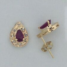 Natural Ruby with Natural Diamond Earrings Solid 14kt Yellow Gold