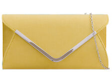 Yellow Plain Suede Wedding Ladies Party Evening Clutch Hand Bag