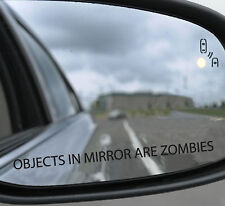 3 x Objects in mirror are zombies Funny 4x4 car Sticker 170x10mm Premium quality