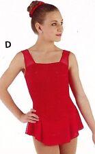 NWT Tank Skate Dress Red child/ladies sizes Mesh Skirt 2 ply #95970 w/scruchie