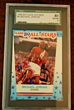GRADED BASKETBALL CARD 1989-90 FLEER STICKER MICHAEL JORDAN SGC 80 EX/NM6