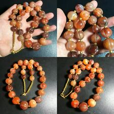 Genuine African Pumkin carved Old Carnelian Agate Stone Beads Beautiful Necklace