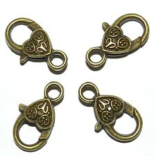 ML934p Antiqued Bronze Large 26mm Heart Design Lobster Claw Focal Clasp 10/pk