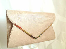 NEW LIGHT NUDE FAUX SNAKE EVENING CLUTCH BAG WEDDING PROM SHOULDER WHITE NAVY