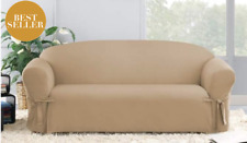 Sure Fit Cotton Duck Sofa Slipcover in Cocoa Box Style Seat Cushion 1Piece